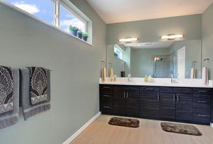 Contemporary Master Bathroom with European Cabinets, Arizona Tile Eclipse Beige Porcelain Tile, Undermount sink, Double sink