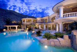 Mediterranean Swimming Pool with Fire pit, Pathway, Arched window, Raised beds, exterior stone floors, Other Pool Type