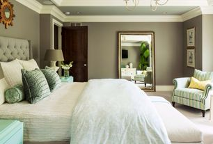 Traditional Master Bedroom with Paint, can lights, Crown molding, Paint 2, Palazzo fabrics p116015 alligator print, Carpet