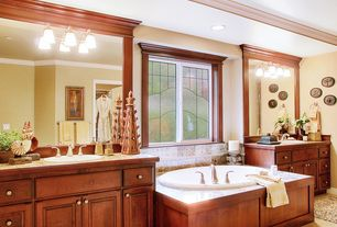 Craftsman Master Bathroom with Crown molding, Raised panel, Stained glass window, Inset cabinets, Limestone counters