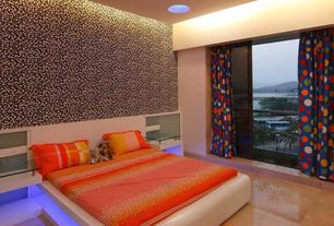 Contemporary Master Bedroom with picture window, interior wallpaper, can lights, stone tile floors, Standard height