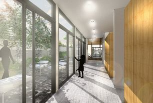 Contemporary Hallway with Concrete floors, French doors, Standard height, Transom window, picture window, can lights