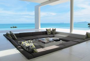 Modern Patio with Tosh furniture white lacquer coffee table with drawers, Pillow perfect glory dusk throw pillow, Ocean view
