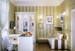 Traditional Home Office with Crown molding, interior wallpaper, Hardwood floors, Wall sconce, flush light, Built-in bookshelf