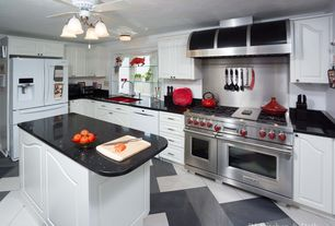 Eclectic Kitchen with Built In Panel Ready Refrigerator, L-shaped, Stainless Steel, Flush, double oven range, Raised panel