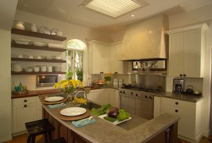 Contemporary Kitchen with Subway Tile, Kitchen island, High ceiling, L-shaped, Undermount sink, Breakfast bar, Arched window