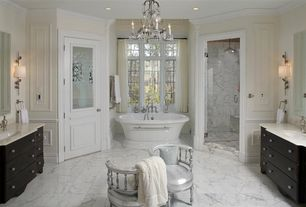 "Traditional Master Bathroom with 71""Bali Acrylic Double-Ended Pedestal Tub, Simple marble counters, Glass panel door, Flush"