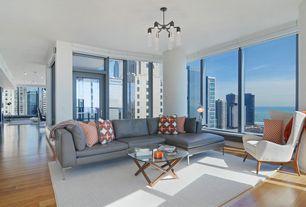 Modern Living Room with Hardwood floors, Chandelier