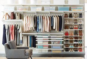 Contemporary Closet with Basic White Wood Hangers, Carpet, Custom closet storage, Bigso White Classic Hat Box Set, Area rug