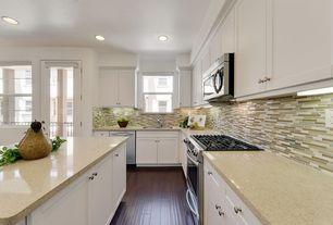 Contemporary Kitchen with Decora Cabinets Harmony Inset, 2 in. Quartz Countertop in Capri Limestone