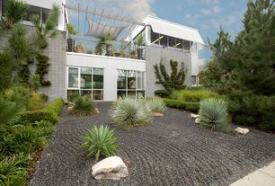 Contemporary Landscape/Yard with Fence, Trellis, exterior awning, exterior stone floors