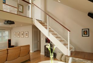 Contemporary Staircase with Laminate floors, High ceiling, Louvered door, Built-in bookshelf, Columns, Loft