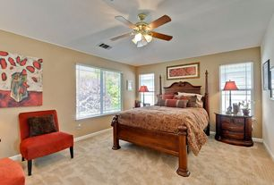 Contemporary Master Bedroom with picture window, Carpet, double-hung window, Ceiling fan, Standard height