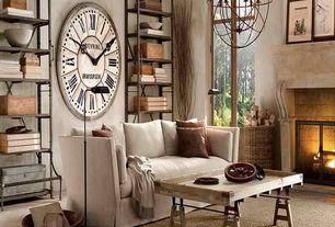 """Eclectic Living Room with Paint, Restoration hardware - foucault's orb chandelier 32"""" - rustic iron, Tray coffee table"""