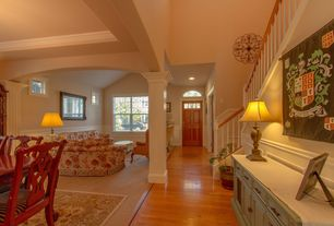 Traditional Hallway with Sideboard, Hardwood floors, Chair rail, Glass panel door, Wainscotting, Paint 2, Paint 1, Buffet