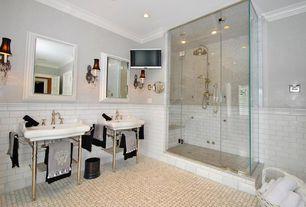 Traditional Master Bathroom with Standard height, Wall sconce, Handheld showerhead, Master bathroom, six panel door, Shower