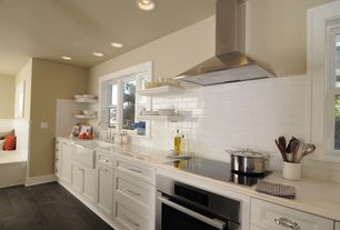 Contemporary Kitchen with Flush, Corian counters, Subway Tile, Farmhouse sink, One-wall, slate tile floors, Window seat