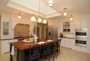 Traditional Kitchen with Kitchen island, Sea gull lighting - pratt street prismatic one light pendant in brushed nickel