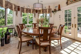 """Country Dining Room with flush light, French doors, Lamps Plus Metal Lattice 4-Light 20 1/4"""" Wide Bronze Pendant Light"""