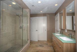 Modern Full Bathroom with Undermount sink, European Cabinets, Flush, Handheld showerhead, Slate Tile, frameless showerdoor