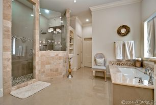 Contemporary Master Bathroom with Wall sconce, Chandelier, MS International Tuscany Classic 4x4 Tumbled Travertine Tile