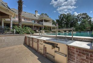 Traditional Patio with Raised beds, Sunstone Grills Outdoor Refrigerator, Outdoor kitchen, exterior stone floors