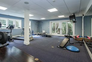 Traditional Home Gym with Skylight, Hardwood floors, French doors