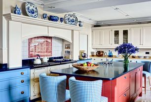 Eclectic Kitchen with Crown molding, Undermount sink, Kitchen island, Custom hood, Inset cabinets, Wood counters, flush light