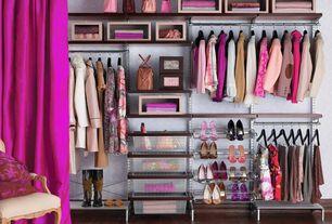 Eclectic Closet with Magenta Silk Dupioni, interior wallpaper, Hardwood floors, Standard height, Drop-Front Shoe Box Linen