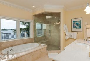 Traditional Full Bathroom with Simple marble counters, Undermount sink, Arizona tile, CREMA MARFIL, Marble, Crown molding