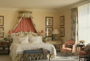Traditional Master Bedroom with Crown molding, Standard height, can lights, Carpet, bedroom reading light