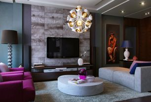 Modern Living Room with Chandelier, Jonathan Adler - Sputnik Chandelier, Box ceiling, Hardwood floors, Paint 2, Paint 1