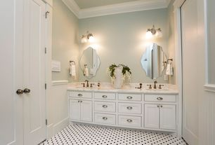 Traditional Master Bathroom with Inset cabinets, partial backsplash, Complex marble counters, Crown molding, Master bathroom