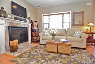 Traditional Living Room with Standard height, Paint 2, Fireplace, double-hung window, picture window, Paint 1