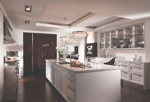 Contemporary Kitchen with Ms international andino white, Undermount sink, Signature hardware deco glam chandelier, Flush