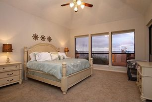 Traditional Master Bedroom with Ceiling fan, Paula deen home savannah 3 drawer nightstand, Carpet