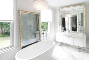 Contemporary Master Bathroom with can lights, Undermount sink, Standard height, Crown molding, Flush, specialty door, Bathtub