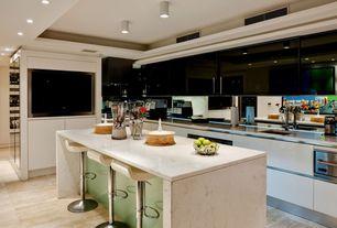 Modern Kitchen with limestone tile floors, MS International  Veneto Sand Porcelain Tile, Complex marble counters, flush light