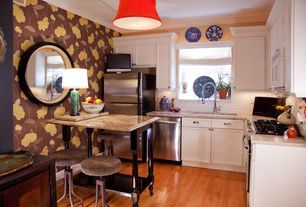 Eclectic Kitchen with gas range, full backsplash, built-in microwave, Pendant light, L-shaped, Complex granite counters