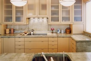 Contemporary Kitchen with Glass panel, Undermount sink, Limestone counters, U-shaped, Kitchen island, European Cabinets