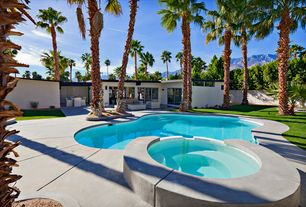 Modern Swimming Pool with Fence, exterior tile floors, Pool with hot tub