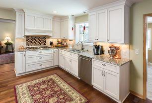 Traditional Kitchen with L-shaped, Dura supreme hanover, Flat panel cabinets, Subway Tile, Ceramic Tile, Custom hood, Flush