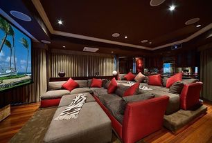 Contemporary Home Theater with Couch -  custom built to order, Hardwood floors, Crown molding