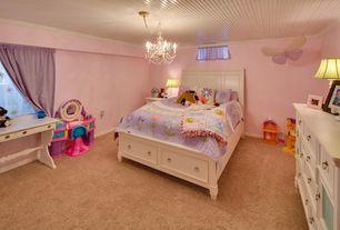Traditional Kids Bedroom with Standard height, Art desk, no bedroom feature, Carpet, Casement, Crown molding, Chandelier