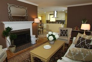 Traditional Living Room with Crown molding, Quatrefoil pillow / sand brown, Home dynamix royalty brown area rug