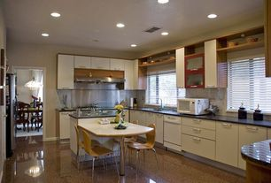 Modern Kitchen with Flush, Breakfast bar, dishwasher, electric cooktop, Kitchen island, can lights, Concrete floors, L-shaped