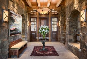 Rustic Entryway with Stone County Ironworks Pine Iron Globe Chandelier, Pendant light, Casement, Exposed beam, Wall sconce