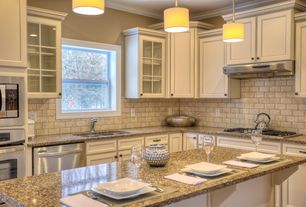 Traditional Kitchen with Limestone Tile, Simple granite counters, Kitchen island, Pendant light, Flush, Glass panel, L-shaped