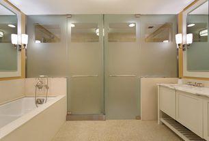 Contemporary Master Bathroom with flush light, Handheld showerhead, Standard height, Limestone, Flat panel cabinets, Flush
