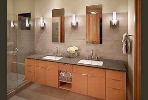 Contemporary Master Bathroom with Master bathroom, Kohler drop in sink, Double sink, Flush, European Cabinets, flush light